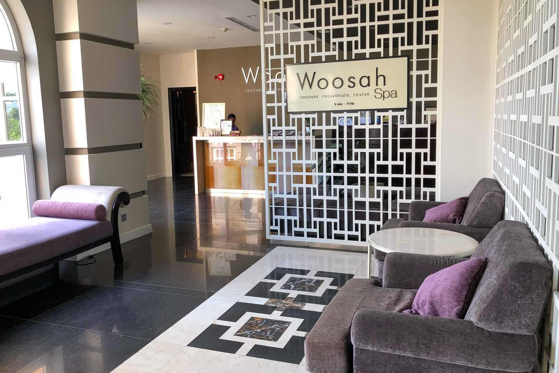 cozy reception hall at Woosah Spa in Hoi An