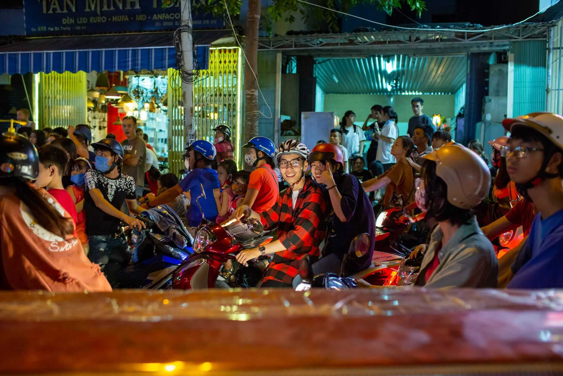 Hoi An's crowded streets at night