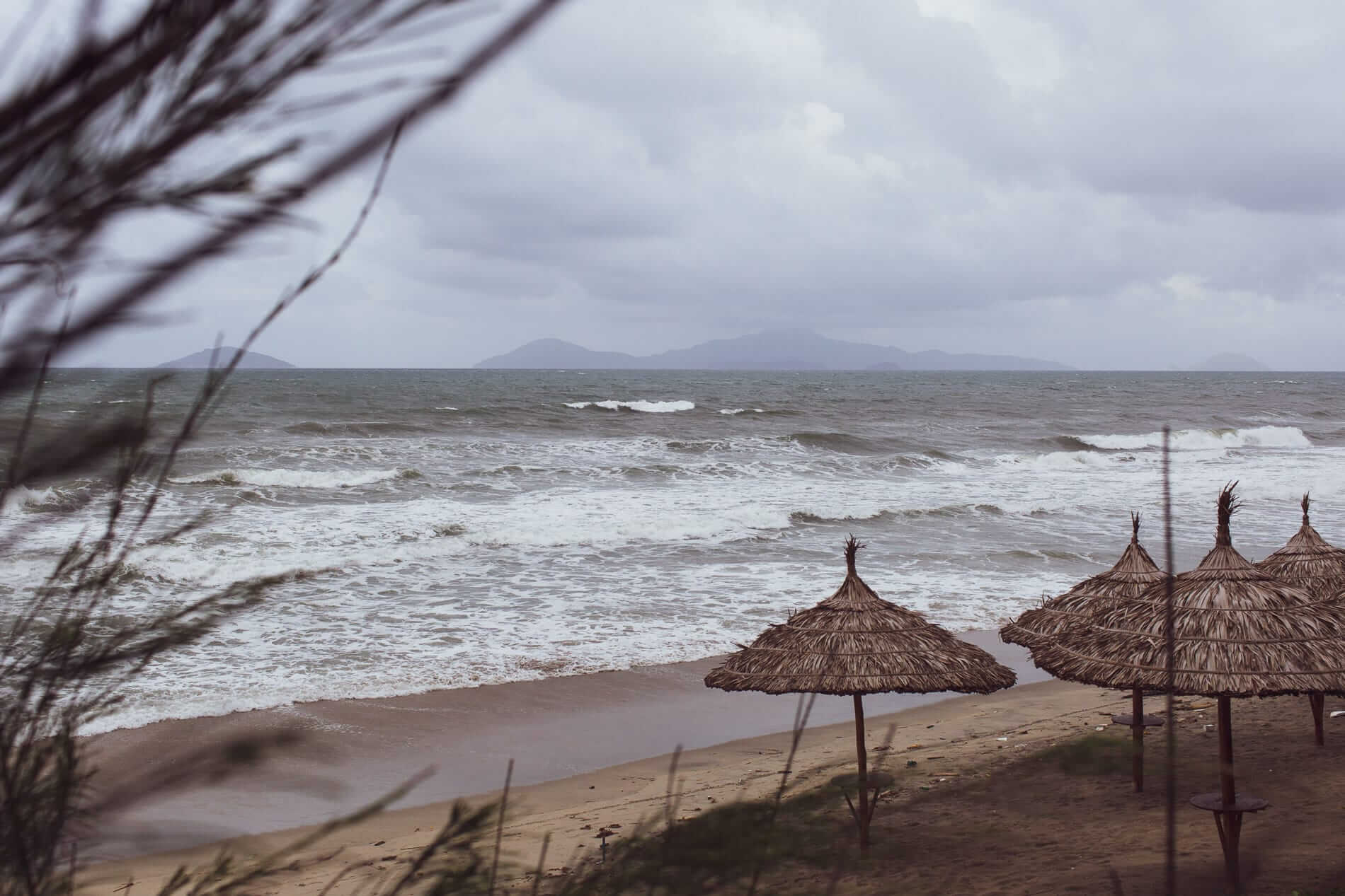typhoon season on the beach of Hoi An