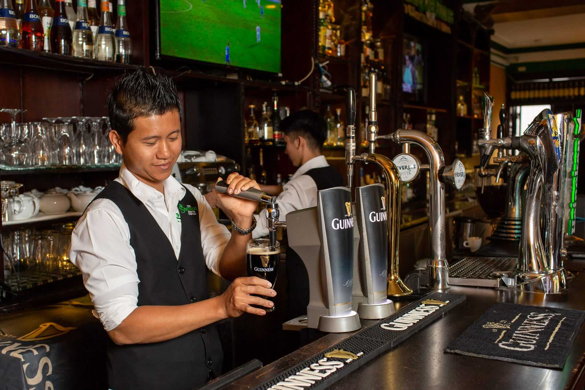 A draft Guinness being poured in Vietnam