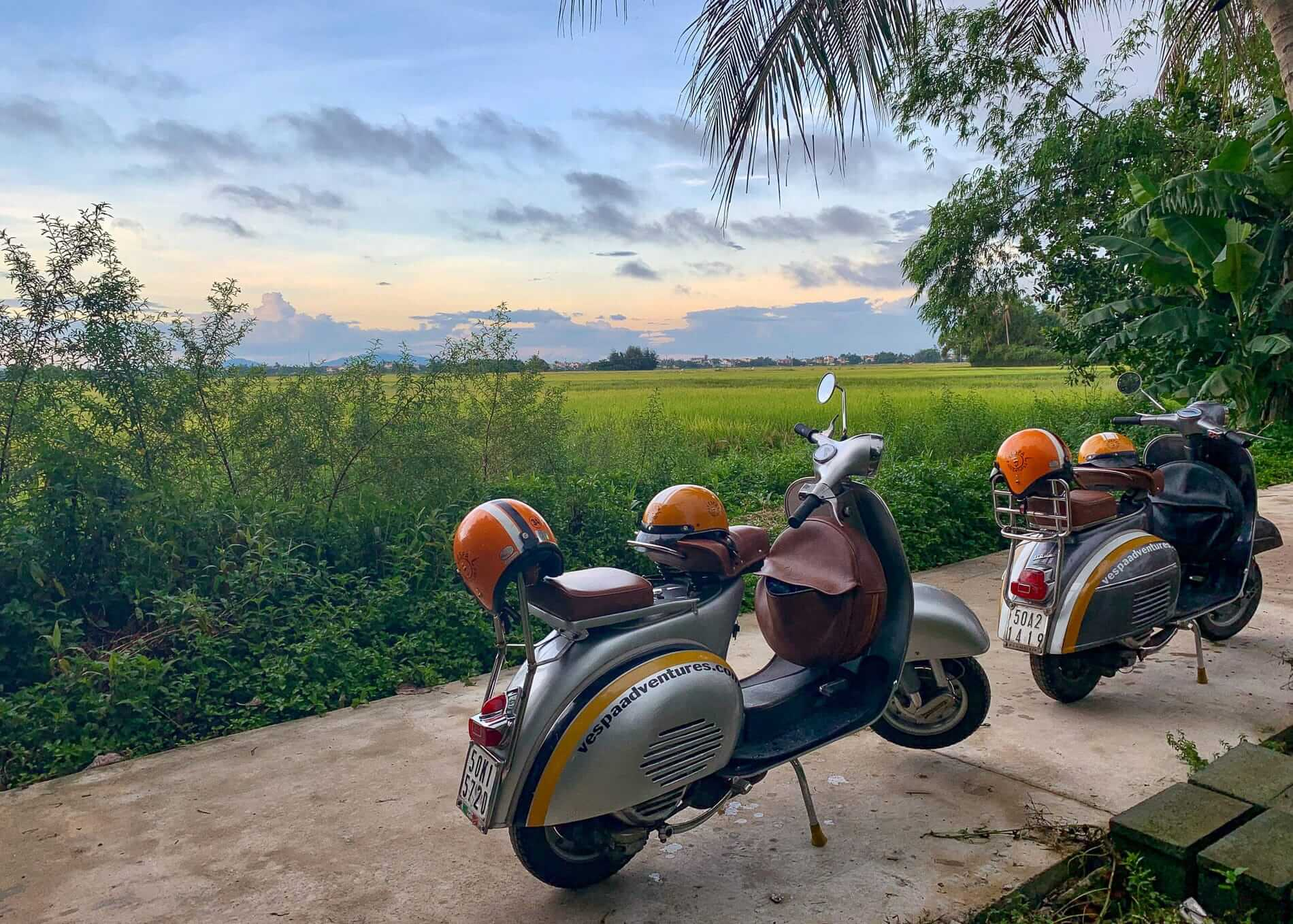 two Vespas on displace