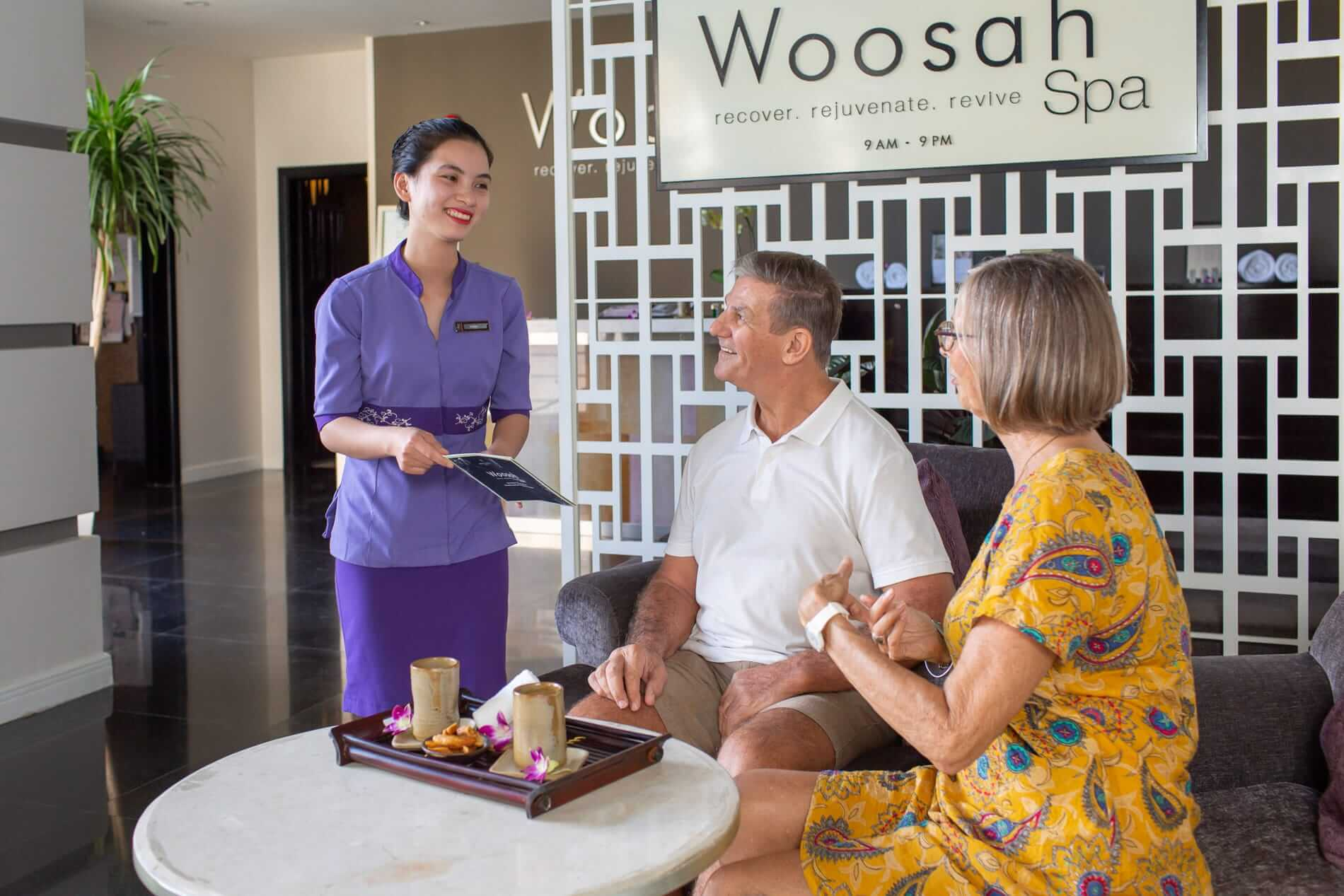 customers are happily greeted by a Woosah Staff in Hoi An