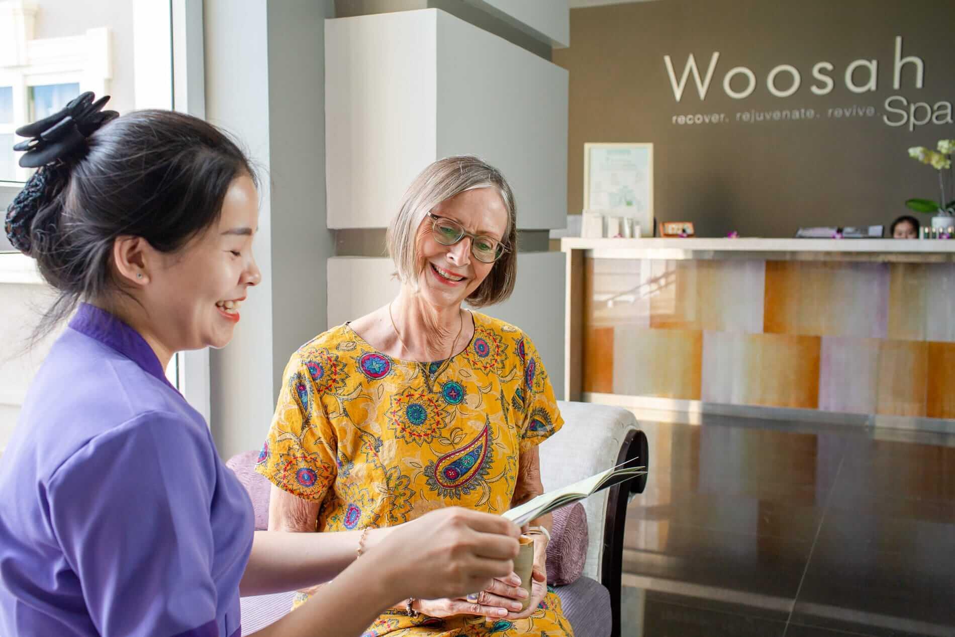 Checking the offers at Woosah Spa