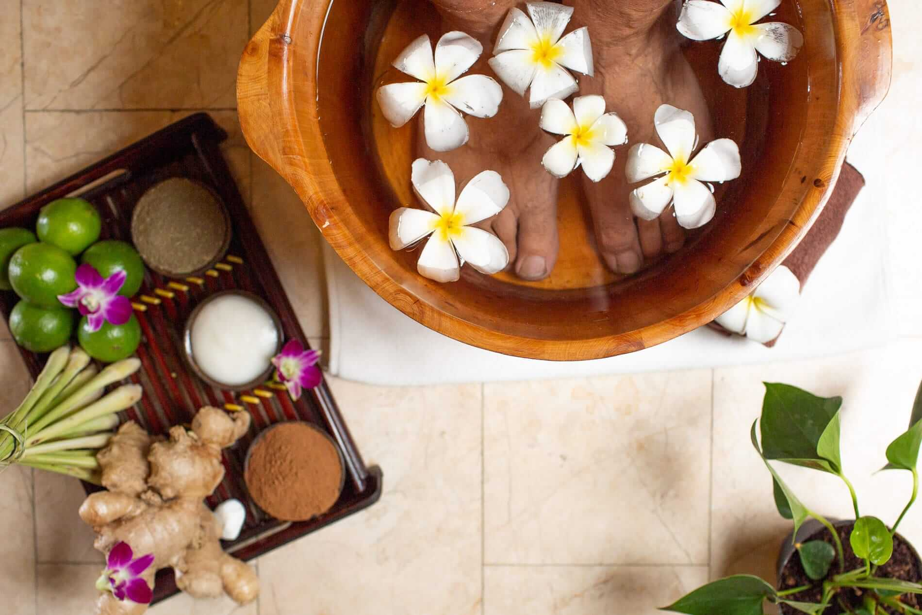 relaxing sore feet with a lavender foot bath