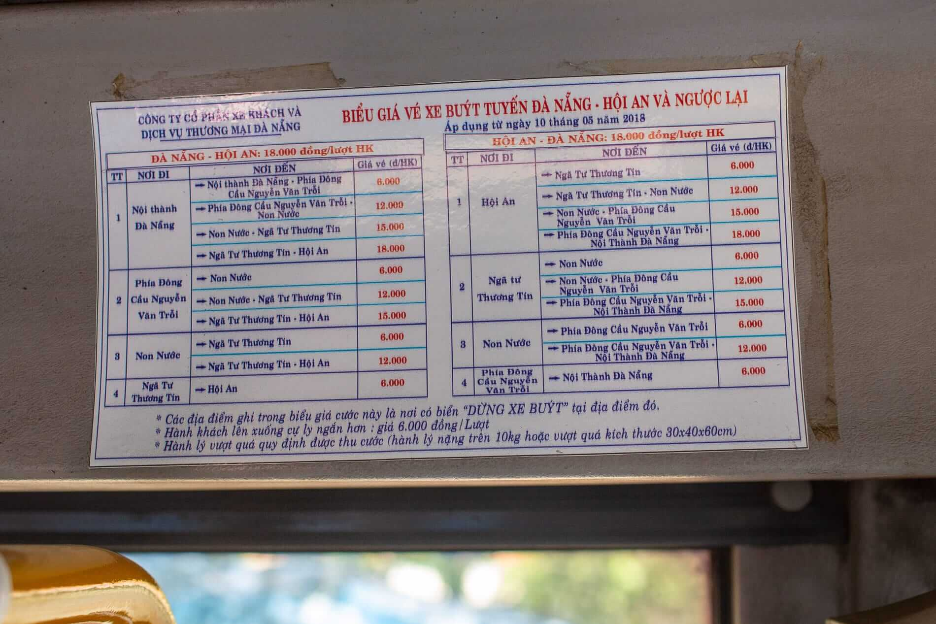 bus fare riding the Bus 1 Da Nang to Hoi An