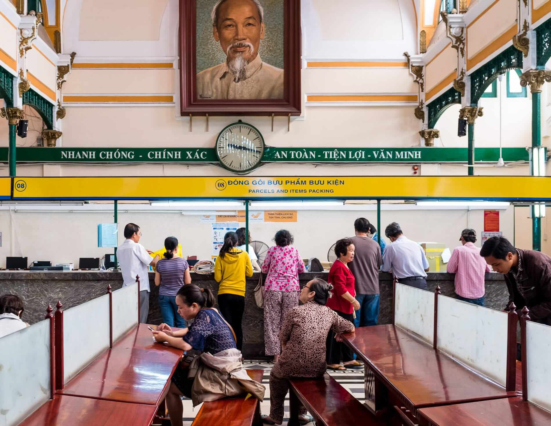 Uncle Ho's portrait at the post office in Hanoi city
