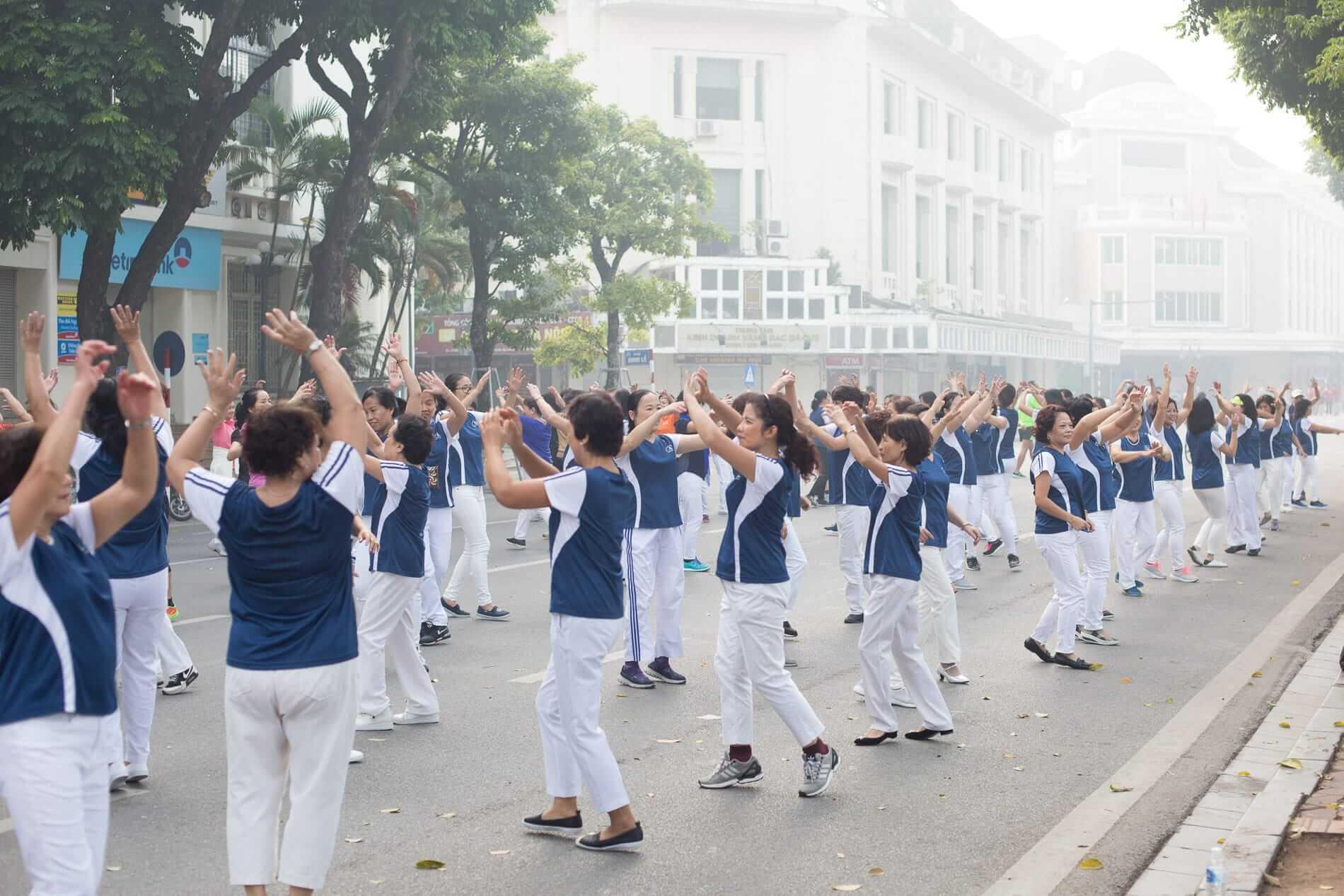 A group dance in Hanoi city