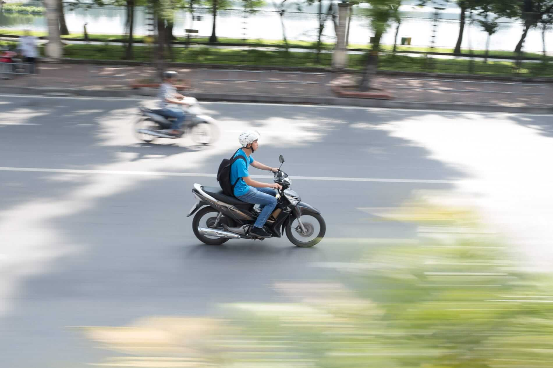 travelling on a motorbike in Hanoi