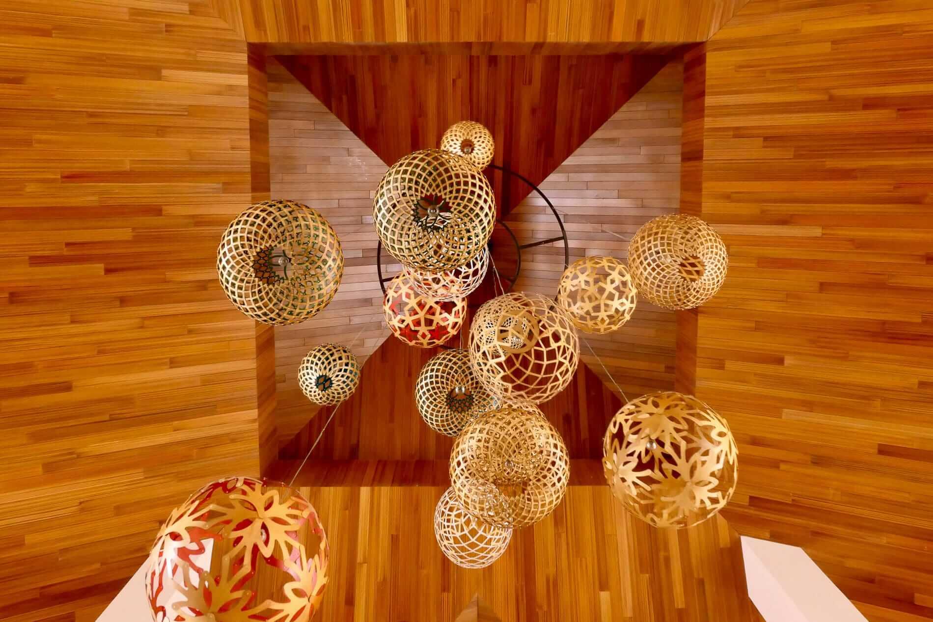 basket chandelier at Pullman Resort's reception
