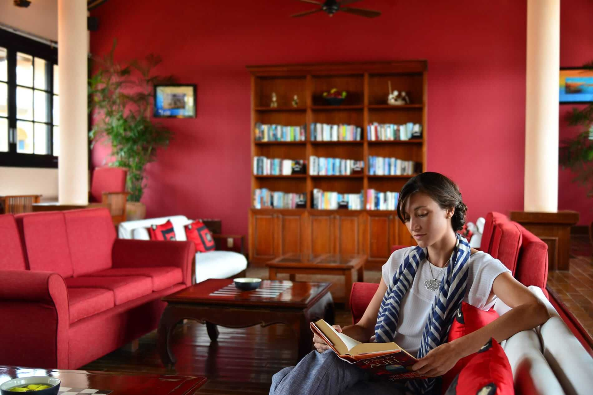 Red lounge areas at Victoria Resort Hoi An