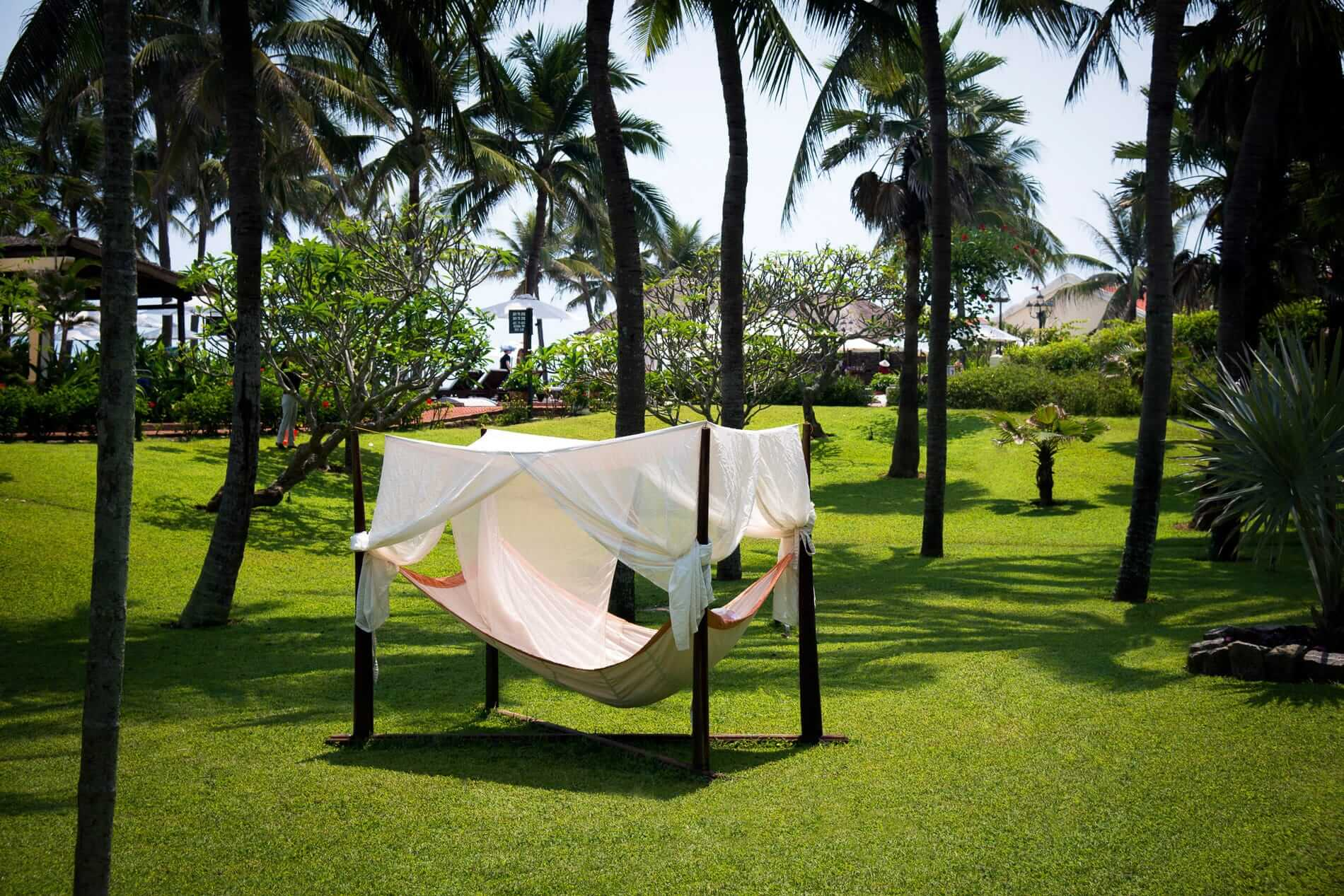 A giant hammock set at the tropical garden