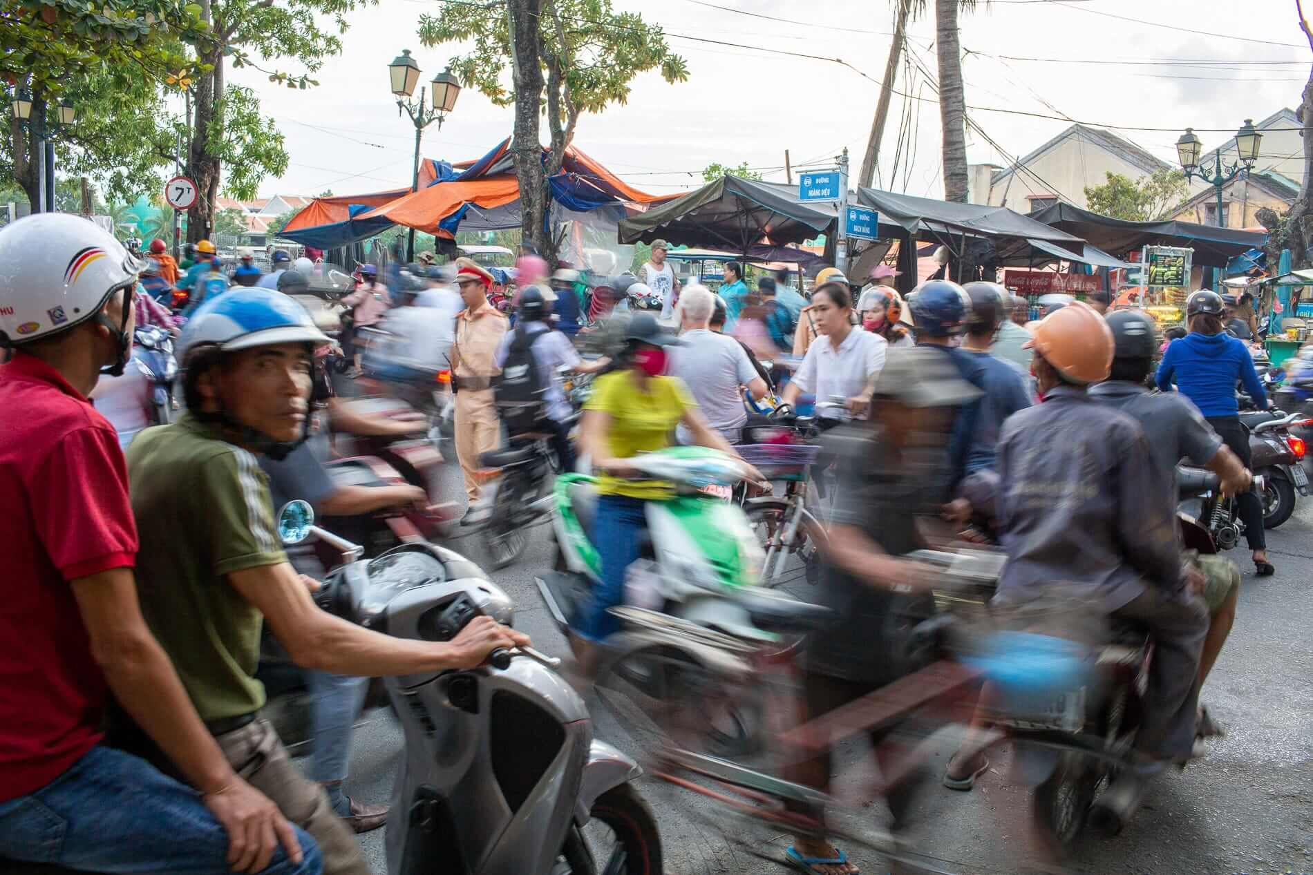 The busy streets of Vietnam packed with motorcycles