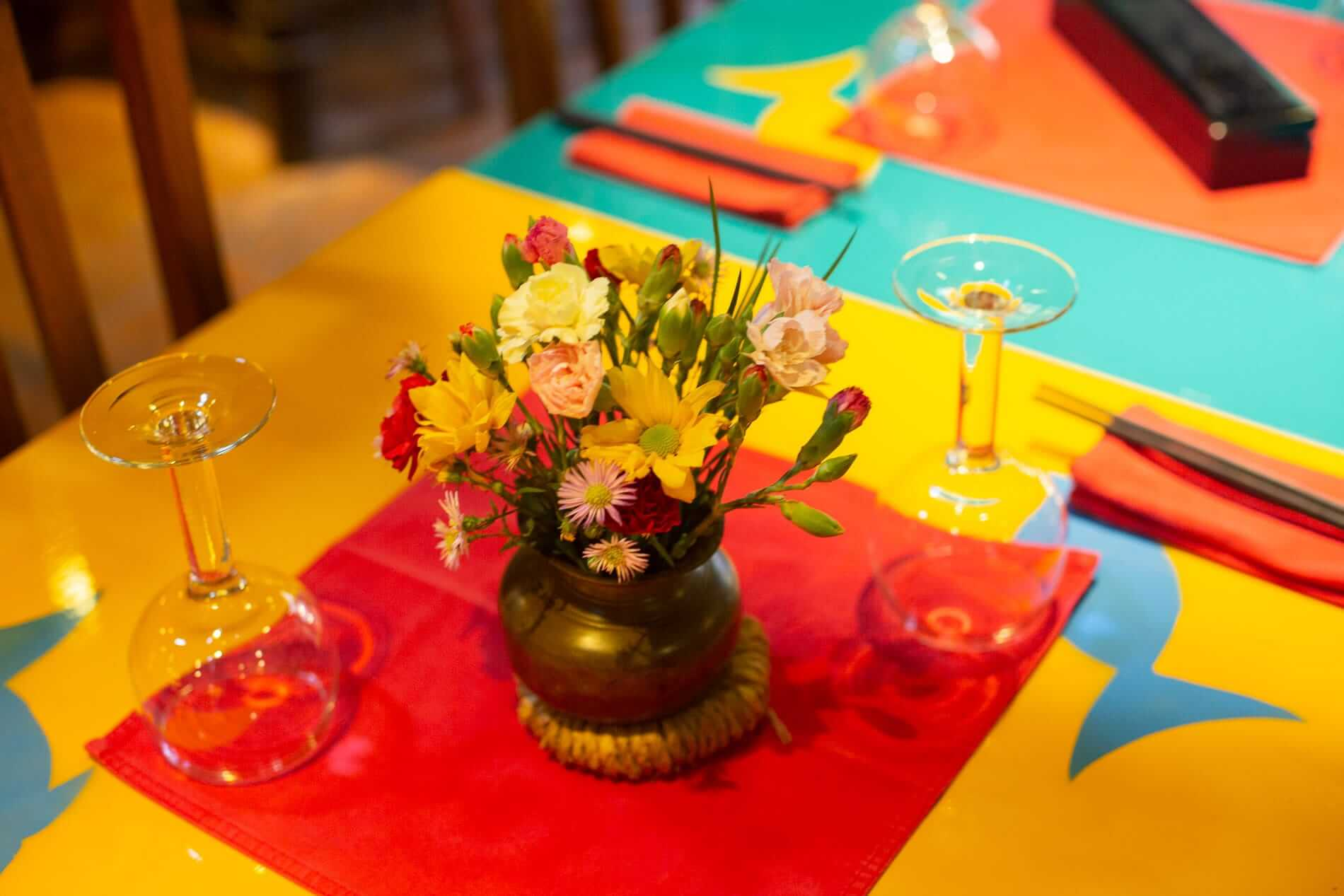 Colourful table