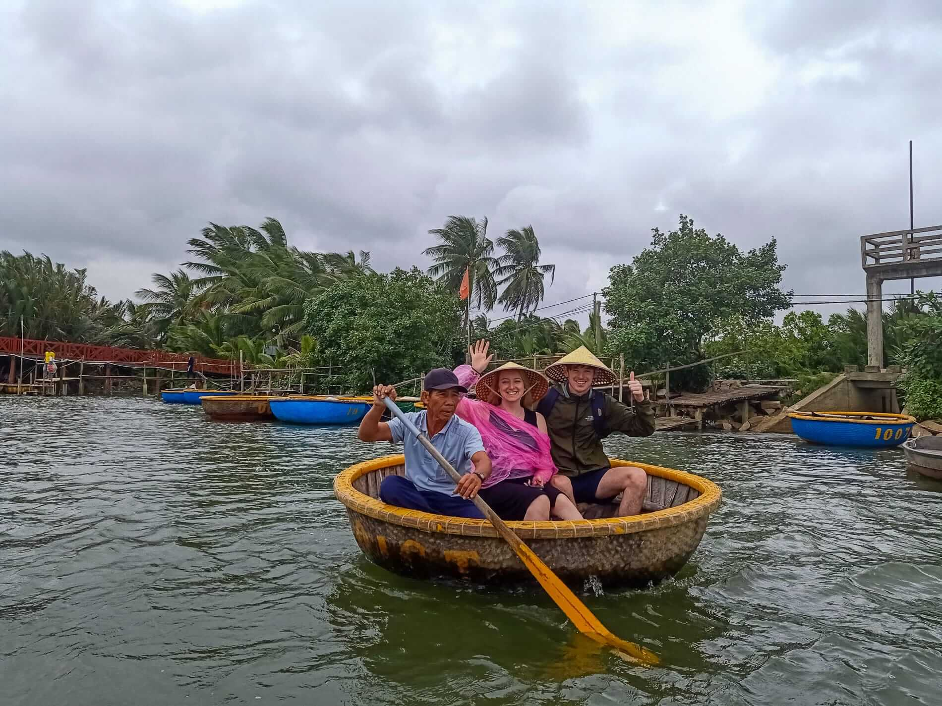 On a basket boat on a food tour in Hoi An