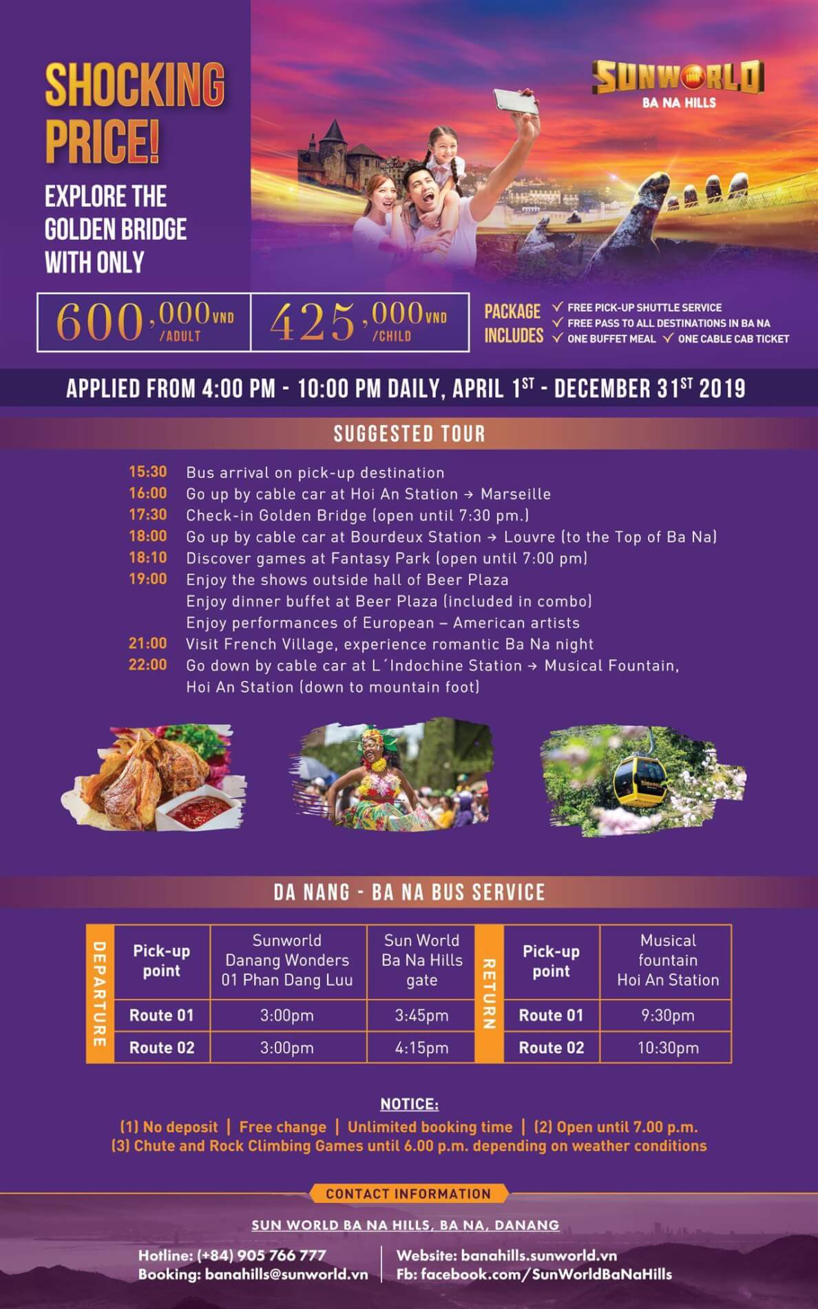 Price list to Ba Na Hills