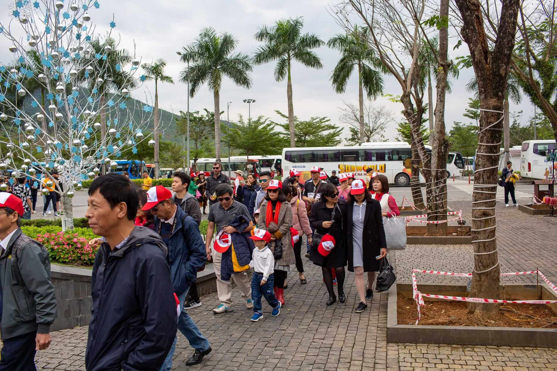 Visitors pack Ba Na Hills on a bus from Da Nang