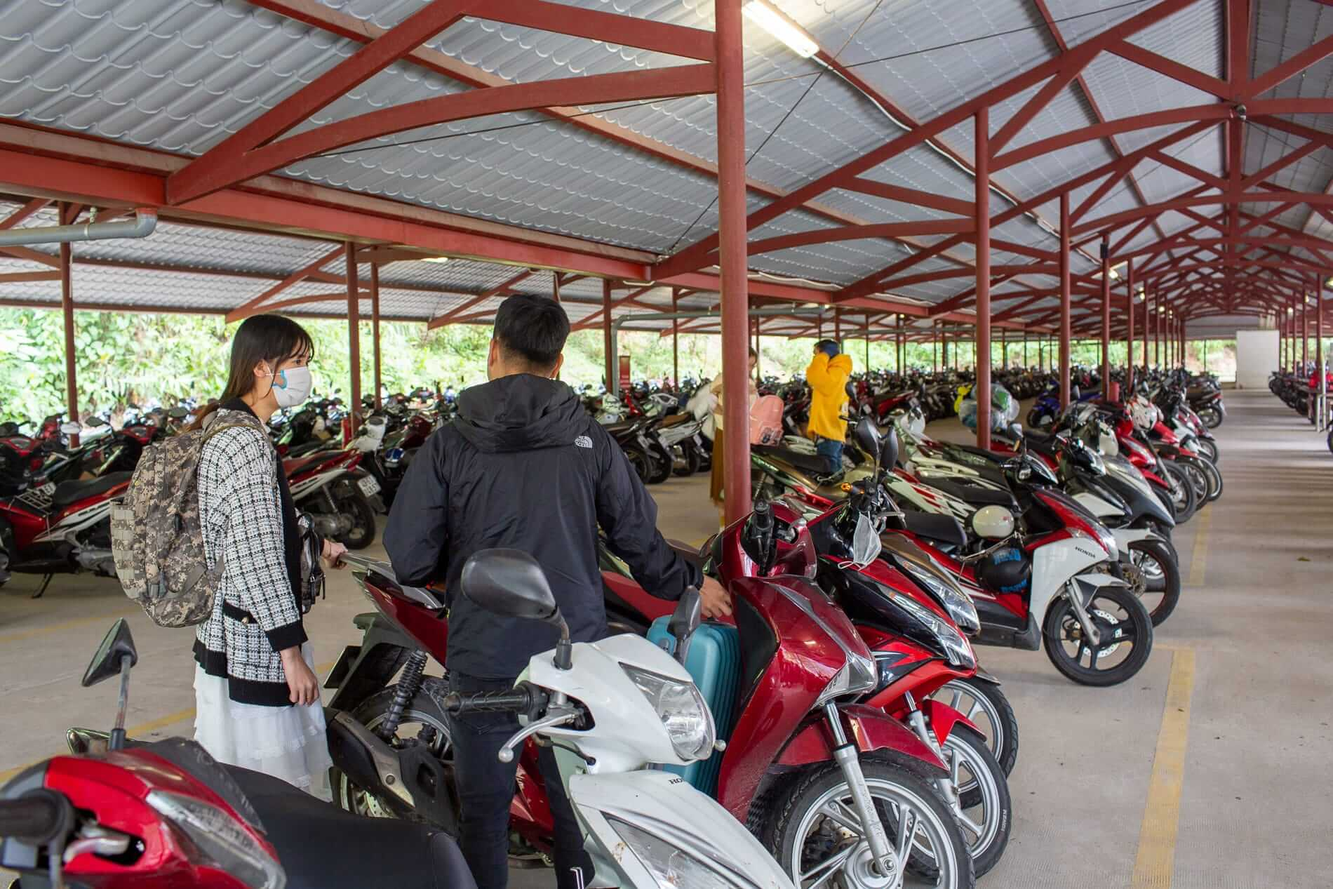 motorcycle parking available at the park