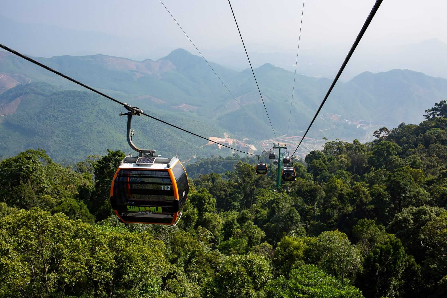 the cable car going to the mountain of Ba Na Hills