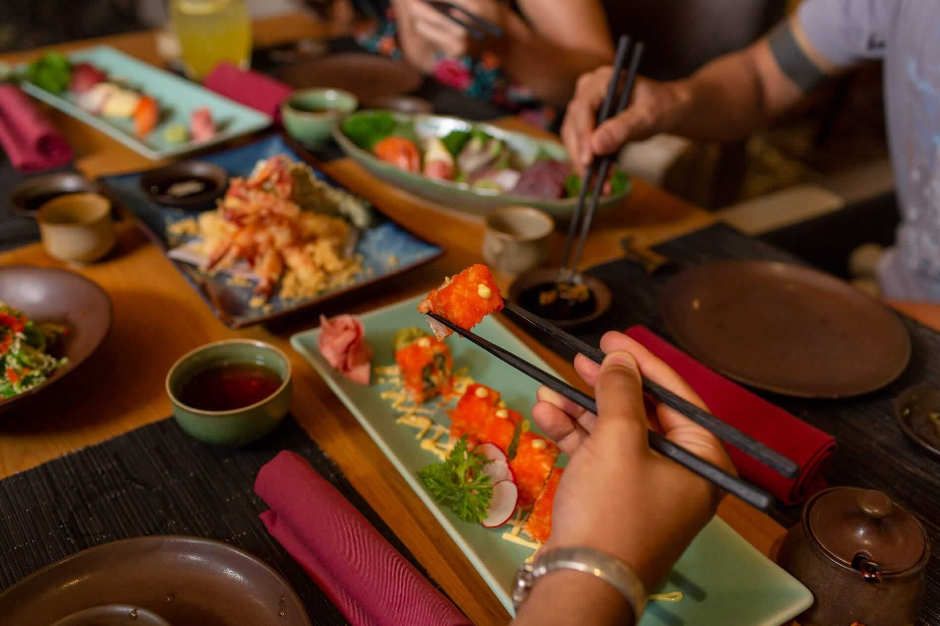delicious Japanese food served at Wakaku Restaurant