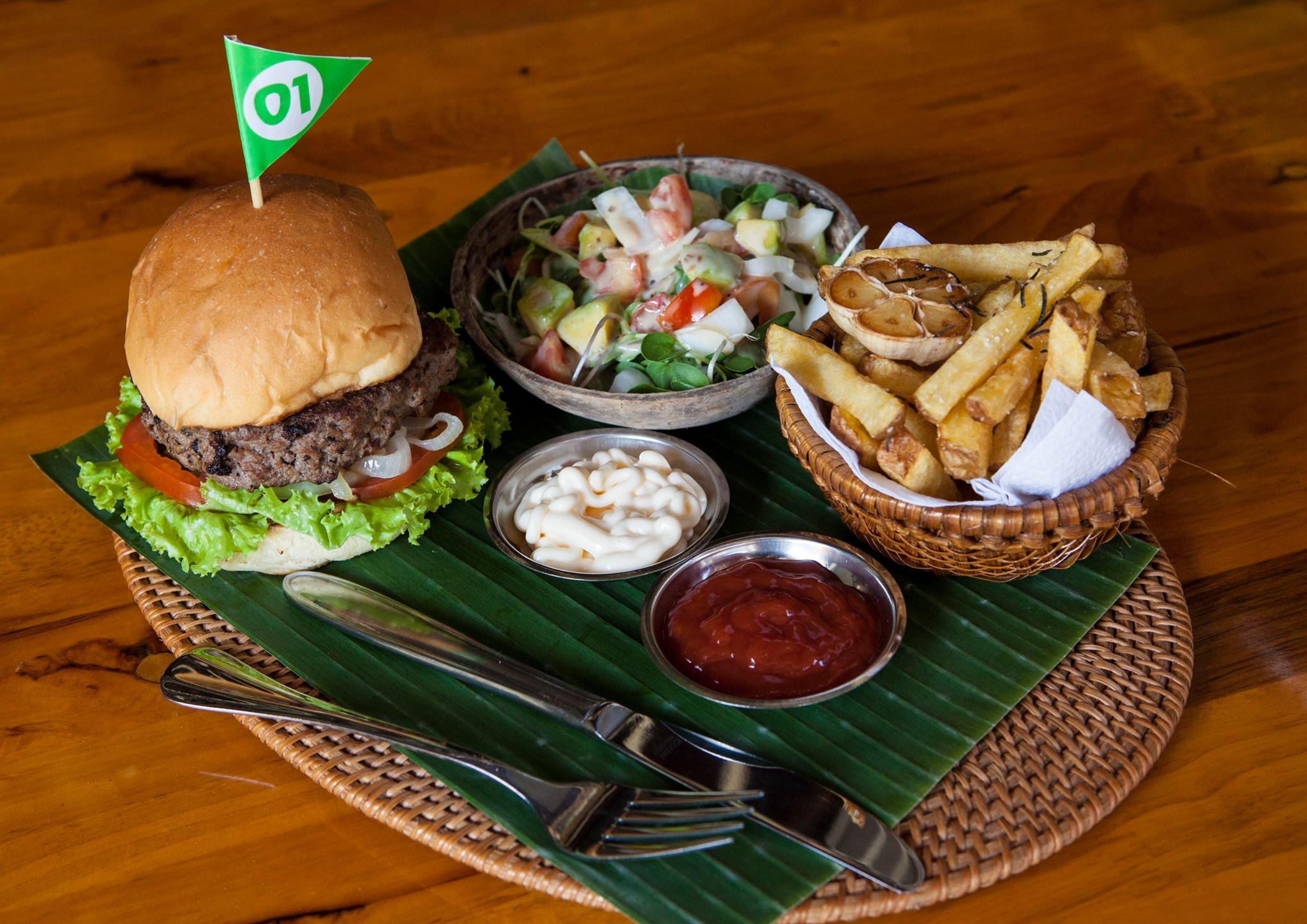 burger, fries and salad at Chef Burger