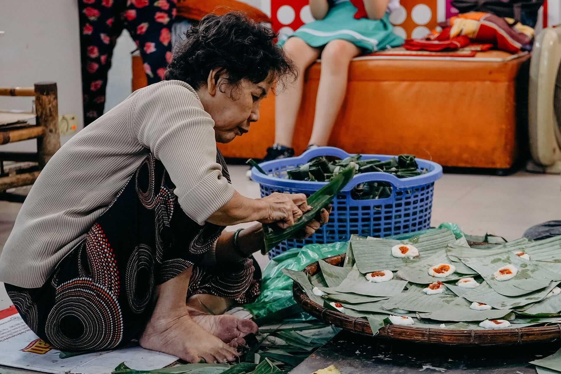A local woman prepares her dumplings