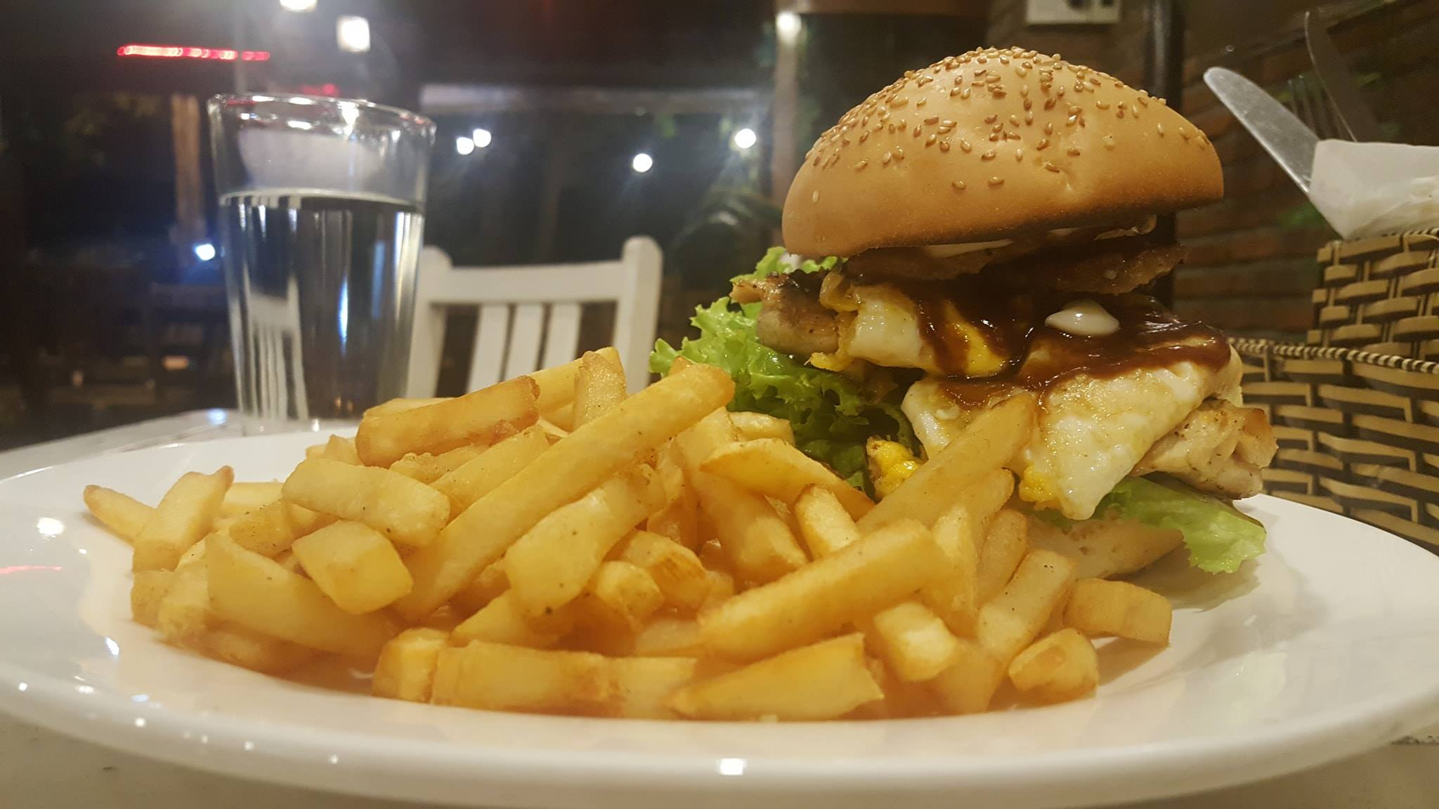monster burger and Chips at Pizza Boom in Hoi An