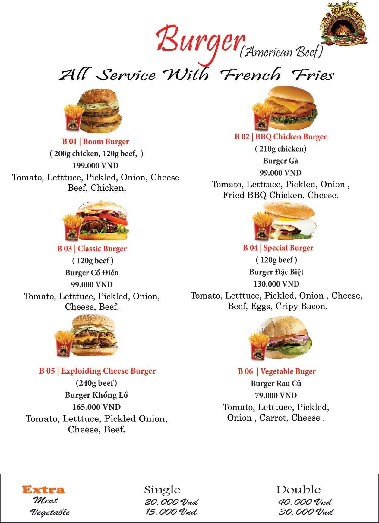 Pizza Boom burger menu