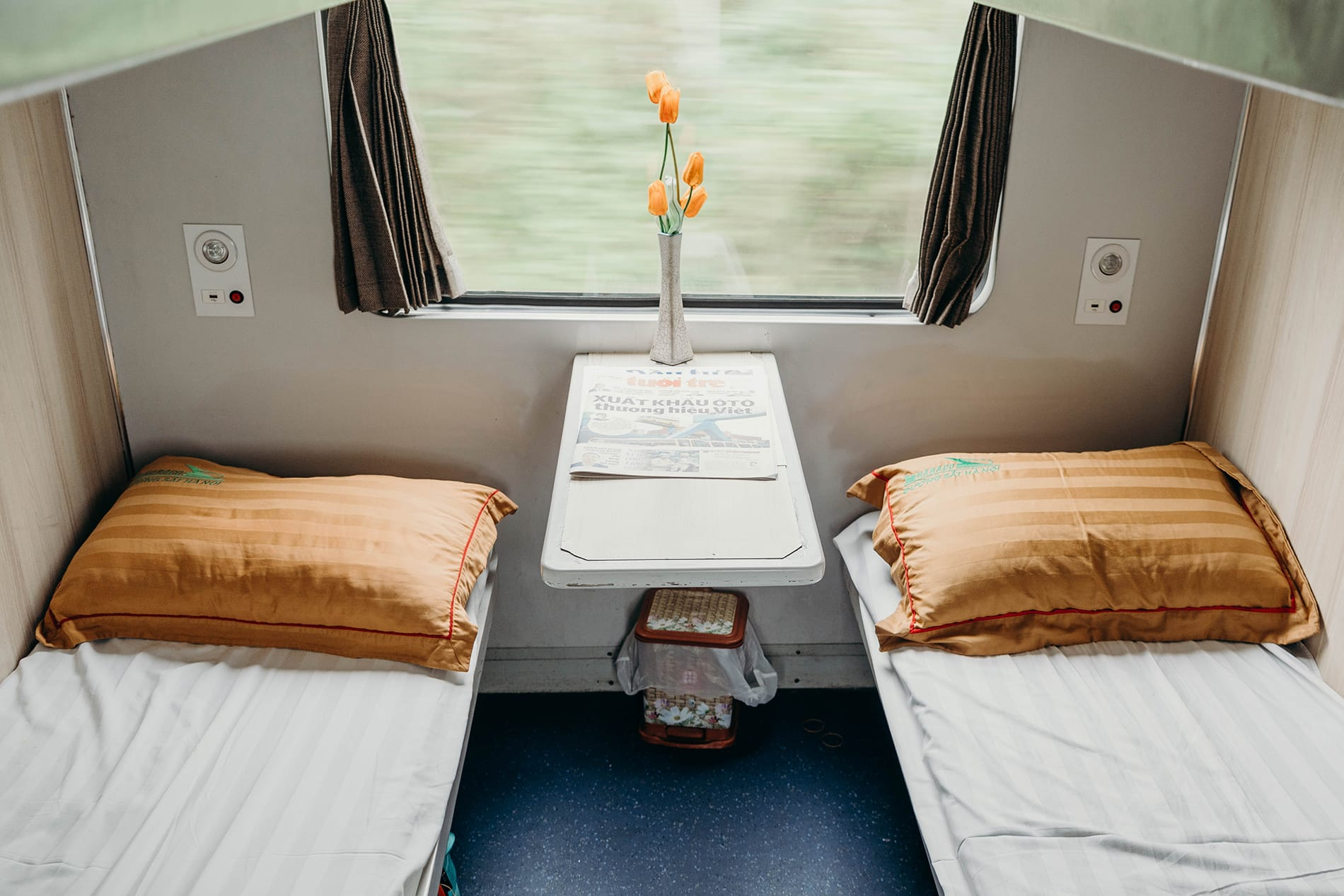 bunk beds at the soft-sleeper cars