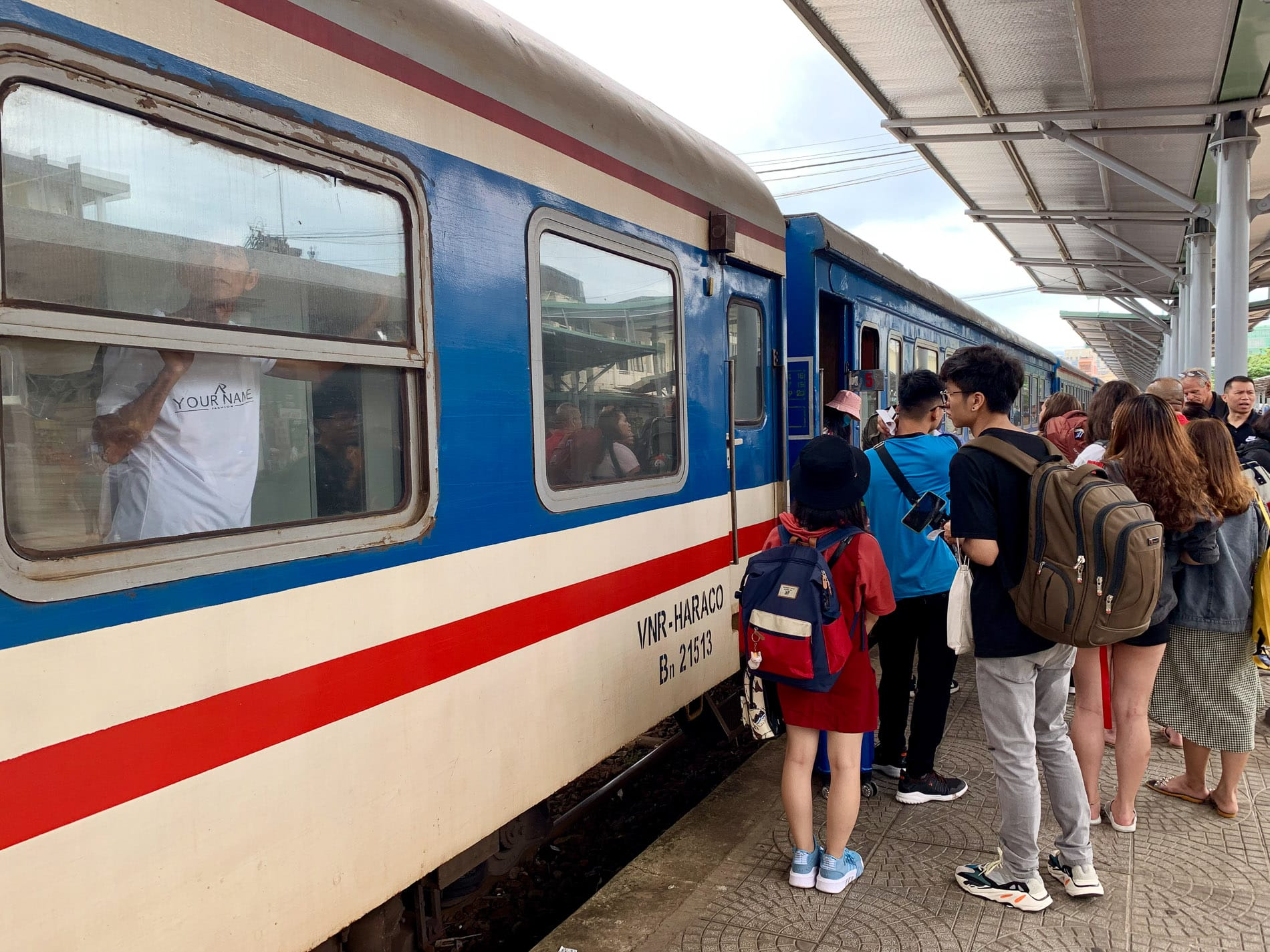 boarding the train from Hanoi to Da Nang