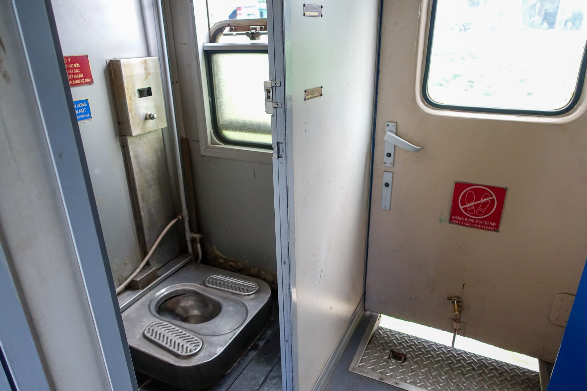 The toilet seat at some trains from Hanoi to Da Nang