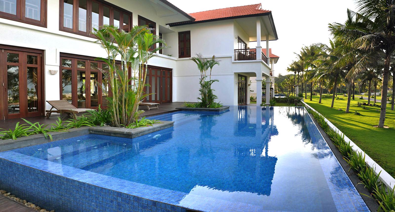 The swimming pool at the villa of Furama Resort