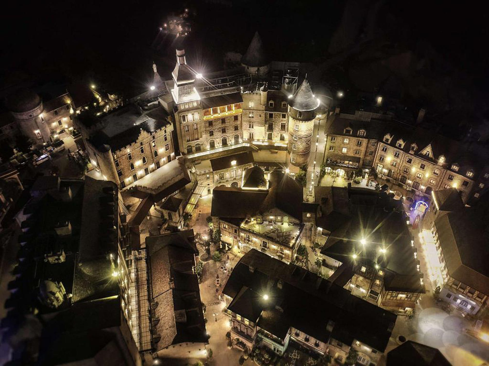aerial shot of Ba Na Hills Hotel at night