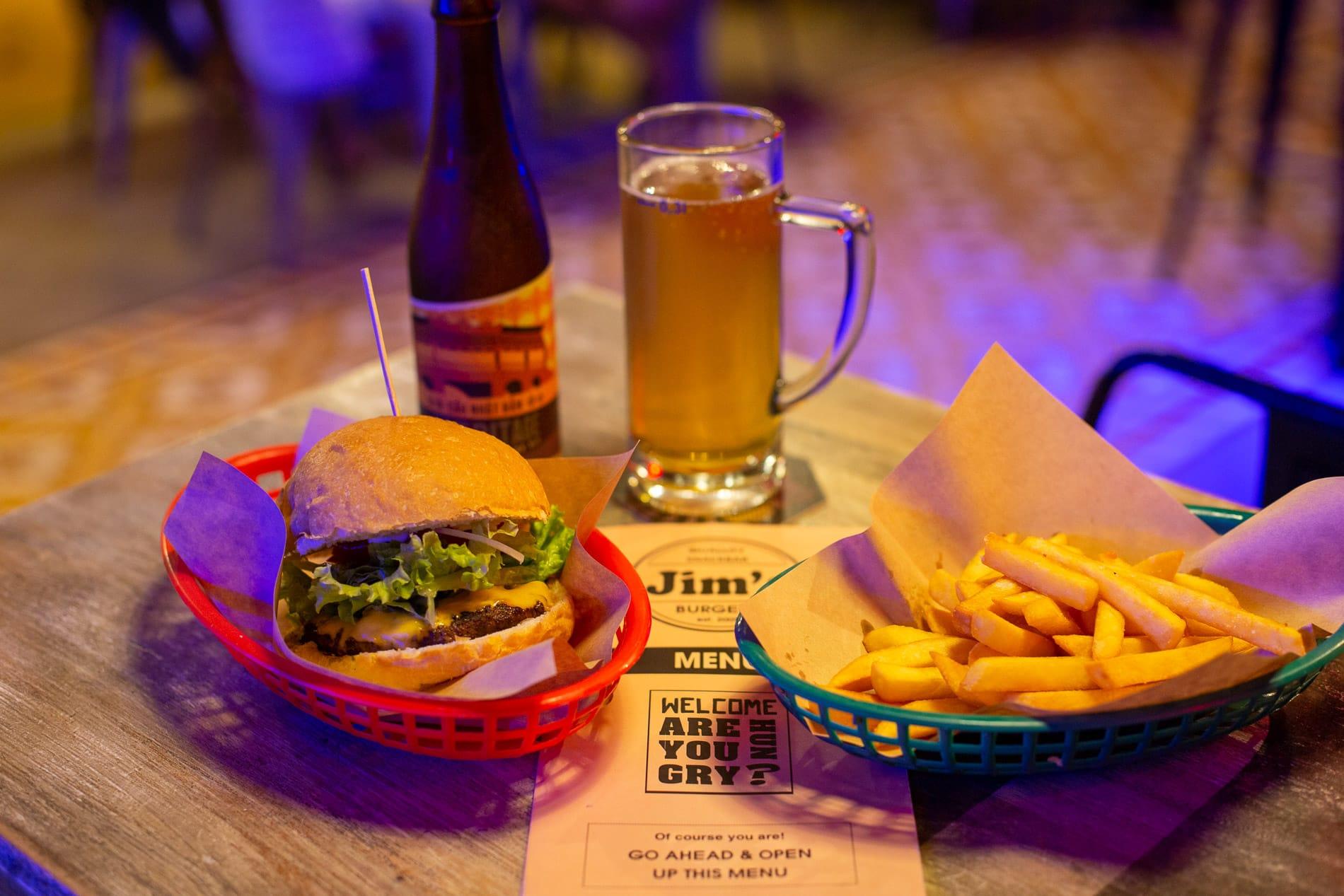Tasty cheeseburger at Jim's Burgers