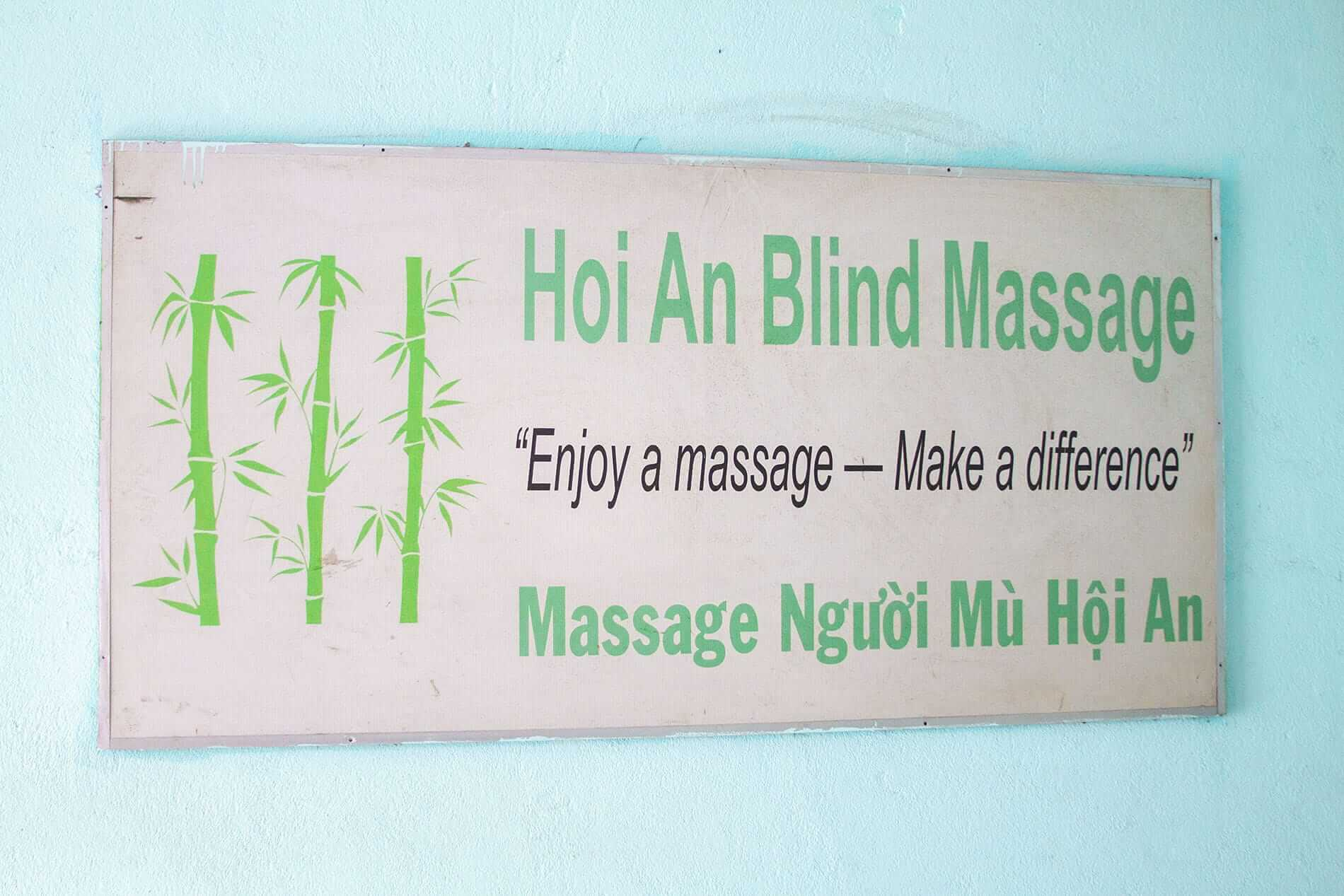 the sign at Hoi An Blind Massage
