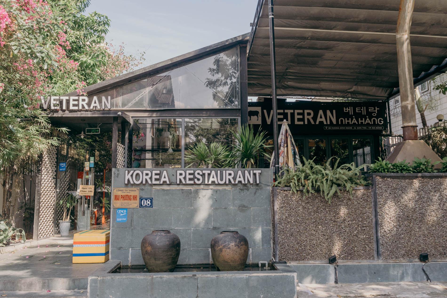 Entrance to one of the best restaurants in Da Nang, Veteran Restaurant