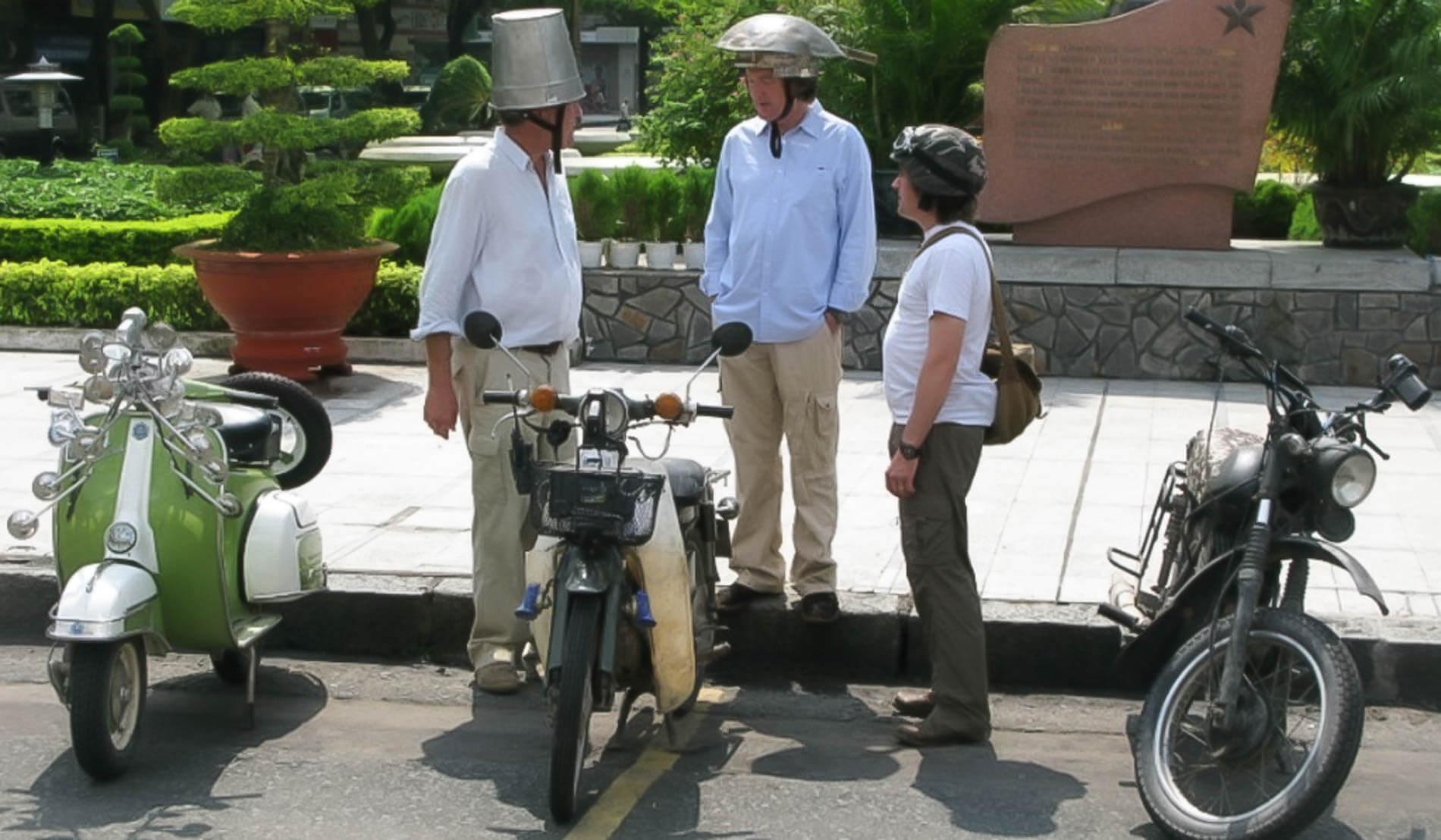 Jeremy and James for Top Gear Vietnam wears unconventional bike helmets