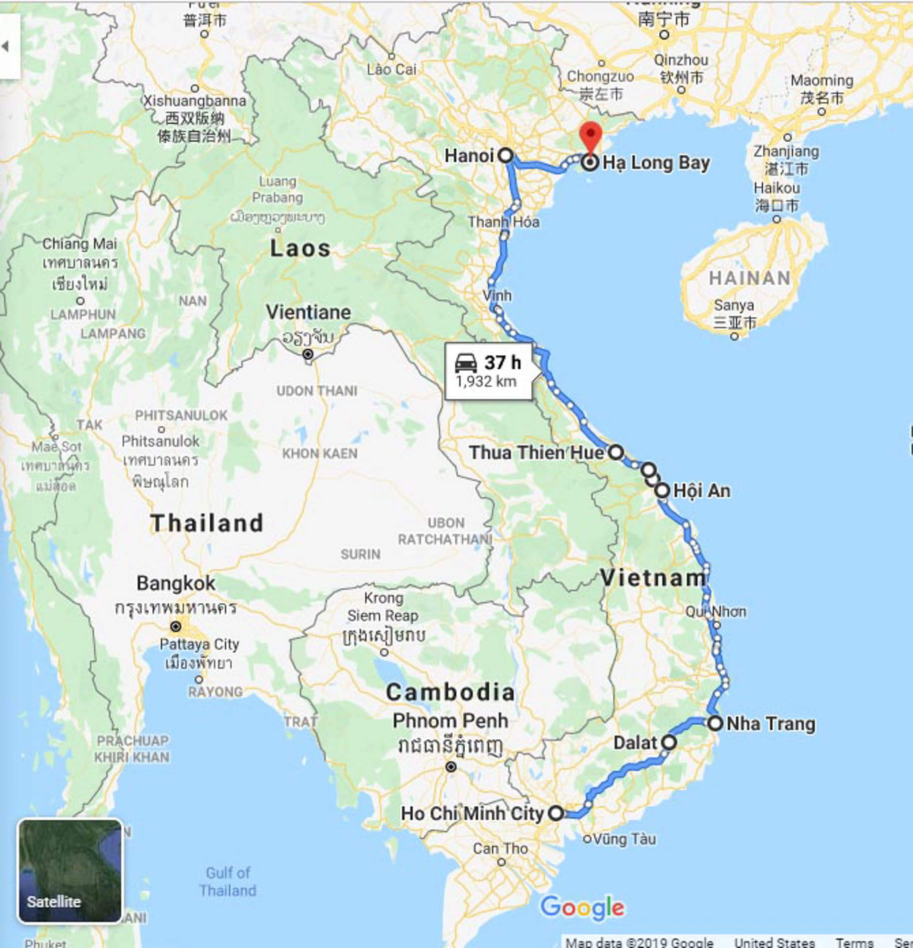 Map route used in Top Gear Vietnam
