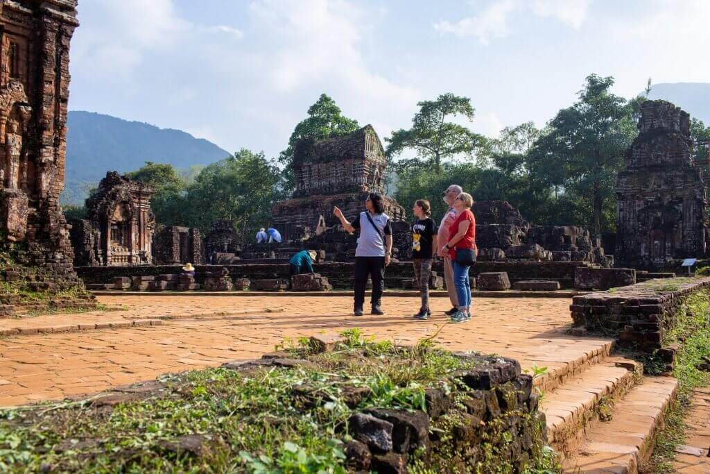 Tourists explore the My Son Sanctuary
